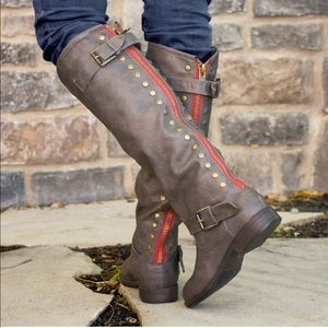 Journee Collection Spokane Red Zipper Riding Boot
